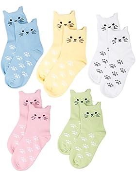 Maiwa Bequem Ohne Drückende Naht Katzen Baumwollsocken für maedchen 5 Packung