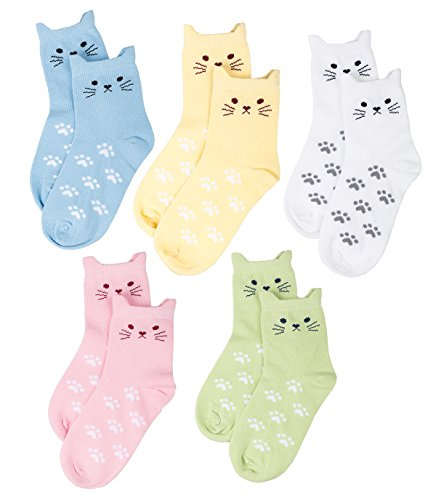 Maiwa Cotton Novelty Cat Crew No Seam Socks for Girls Children 5 Pack