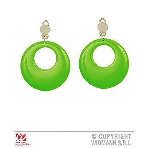 Preisvergleich Produktbild grüne,  runde Ohrringe am Klip / Klipohrringe / Kreolen für 80er Jahre Neonparty / Kostümzubehör