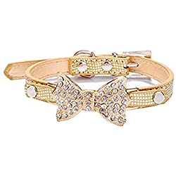 TOOGOO(R) Pretty Bling Rhinestone Pet Collar Chihuahua for dogs leash Dog Harness sets Cat Puppy pet collar gold S