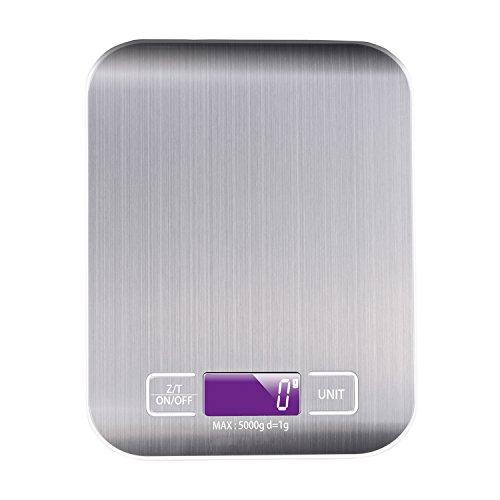 Billpow Digitale Küchenwaage, Digitalwaage Küche, Elektronische Waage, Hohe Präzision auf bis zu 1g (5kg Maximalgewicht), Tara-Funktion, LCD-Display, Inkl Batterie