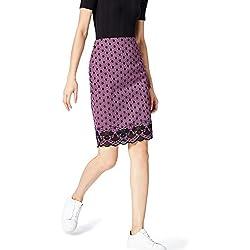FIND Falda de Encaje para Mujer , Multicolor (Orchid/black), 42 (Talla del Fabricante: Large)