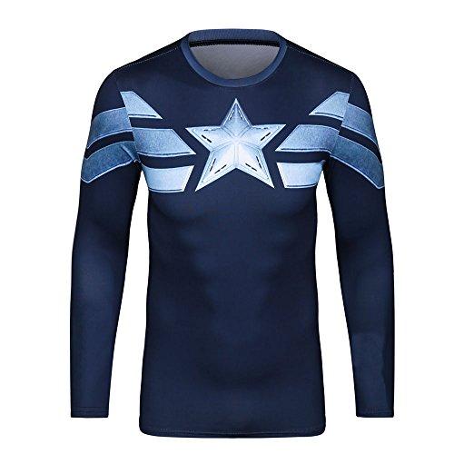 CT17Stampa 3d blu Tight compressione camicia maniche lunghe da donna, per sport Fashion Blue M
