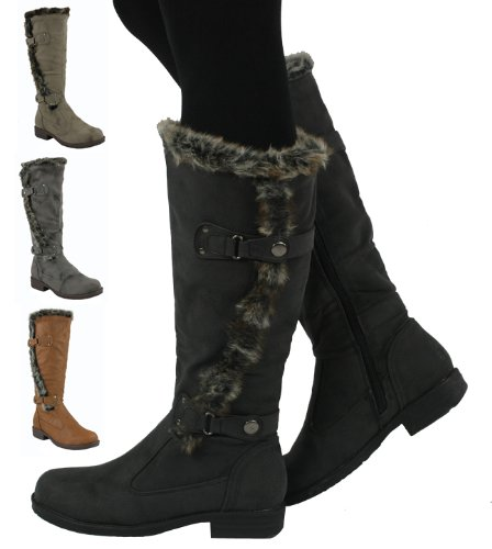 D3618 Low-Heeled winter boot Light Brown