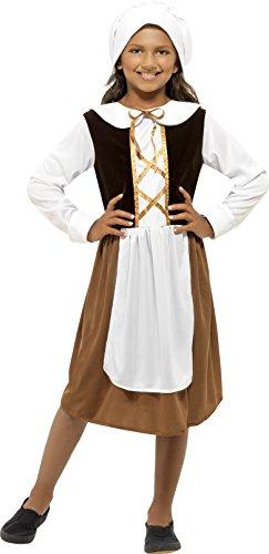Smiffys Kinder Tudor Mädchen Kostüm, Kleid, Mütze und Mock Schürze, Größe: L, (Tudor Kostüme)