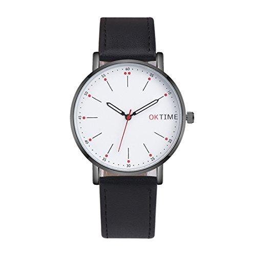 Souarts Unisex Armbanduhr Herren Damen Einfach Stil Casual Leder Nylon Armband Analoge Quarz Uhr