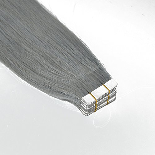 50 Gram 20 Pcs Sleek Straight Real Human Hair Tape Hair Extensions Seamless Tape Ins Virgin Remy Hair (18 inch, Silver)