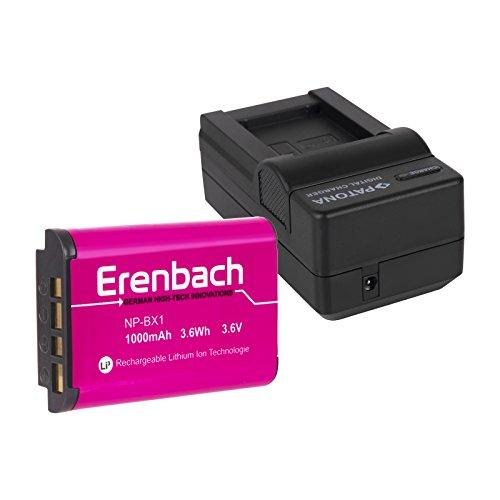 2in1-SET für den Sony HDR-PJ410 Full HD Camcorder --- ERENBACH Markenakku für Sony NP-BX1 (starke 1000mAh) + Schnell-Ladegerät für Digitalkamera / Camcorder incl. KFZ-Lader (12V)