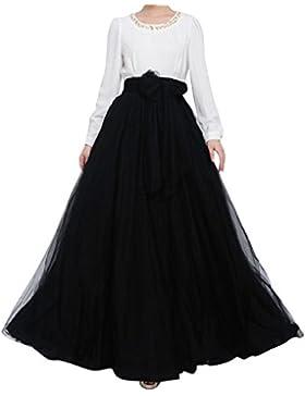 Mujeres Faldas Tutu Larga De Cintura Alta Dobladillo Grande Maxi De La Mujer Falda De Tul Largo