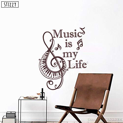 Cooldeerydm adesivo murale moderna chiave di violino wall sticker quota la musica è la mia vita staccabile decorazione della finestra poster creativo