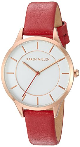 Karen Millen Women's Quartz Watch with White Dial Analogue Display and Red Leather Strap KM133RRGA