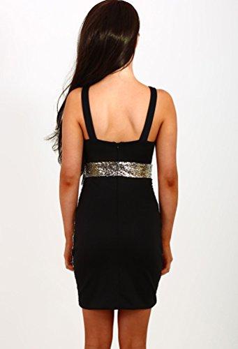 WanYang Damen Ärmellos Pailletten kleid Ballkleid Festliches Minikleid Abendkleid Cocktailkleid Party Bodycon Kleider Glod