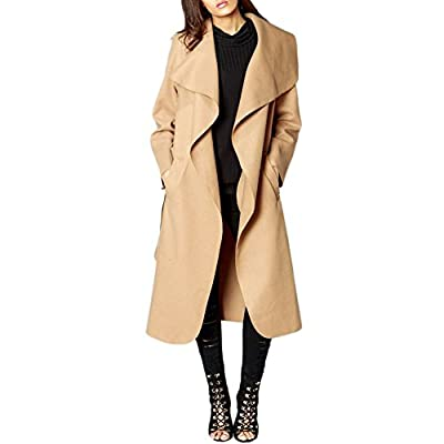 SCO New Womens Ladies Longline Waterfall Collar Belted Duster Coat Jacket Plus Size