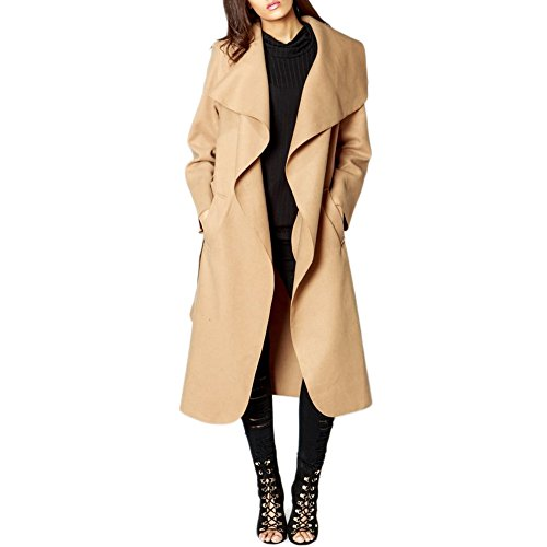 Simply Chic Outlet SCO New Womens Ladies Longline Waterfall Collar Belted Duster Coat Jacket Plus Size