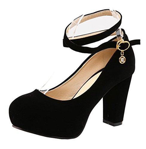 YE-Damen-Blockabsatz-High-Heels-Plateau-Wildleder-Runde-Spitze-Geschlossen-Pumps-mit-knchelriemchen-Elegant-Party-Kleid-Schuhe