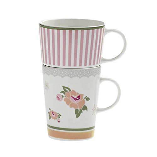 Brandani 53252 Peonia NEUF Porcelaine anglaise double Mug, Blanc