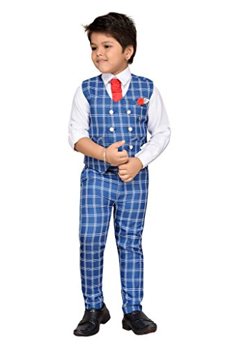 AJ Dezines Kids Party Wear Suit Set for Boys (826_WHITE_BLUE_1)