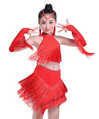 HAPPY CHERRY Mädchen Tanzkleid Latein Kleid Pailletten Gesellschaftstanz Kleider Kinder ()