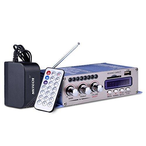 NKTECH 3A Power Supply HY-502S FM/MP3/USB/SD/DVD Audio Speaker Car Bluetooth Digital Amplificateur Hi-Fi Bass 2 Canal 20W x 2 RMS Player Bleu et Télécommande