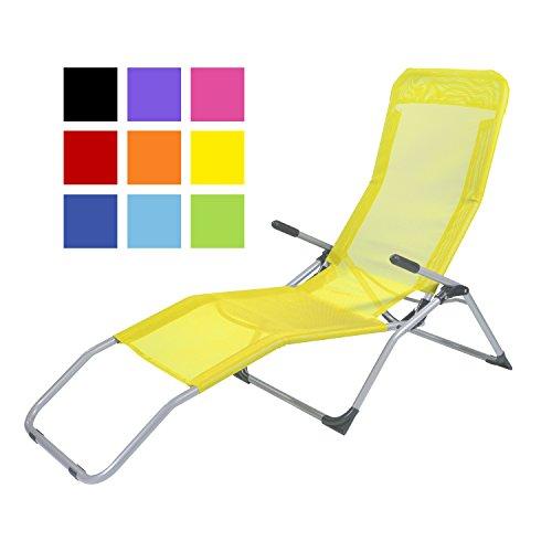 TPFGarden Gesundheitsliege Kippliege Relaxliege Athen klappbar + aus Stahl + wetterfest | Farbe: Gelb | Hohe Qualität