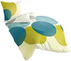 Bierbaum - Parure de lit en coton satiné - coloris motif 6155/pétrole 20, Satin mako, multicolore, 135 cm x 200 cm