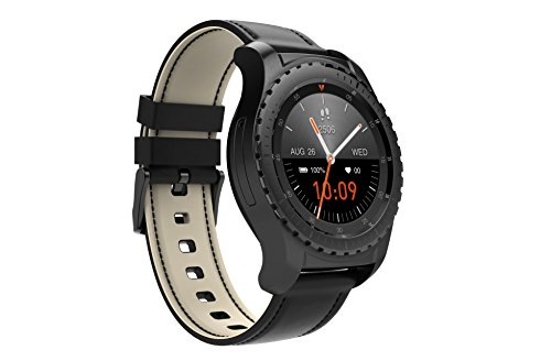Geschmiedet Schwarz Zwei Licht (MBT KW28 1,3 Zoll Runde Touchscreen Mode Smart Watch mit Pulsmesser, Schrittzähler, Sim Slot und Anti-verlorene Alarm Schwarz)