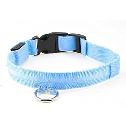 Water & Wood Pet Dog Release Buckle LED Flash Light Safety Collar M Blue Black
