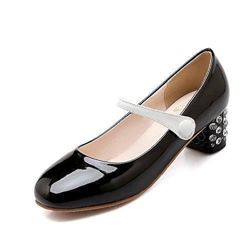 AllhqFashion Femme Carré Fermeture D'Orteil à Talon Correct Couleurs Mélangées Tire Chaussures Légeres Noir