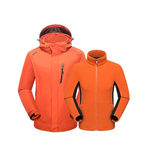 Zhhlaixing Adult Outdoor Breathable Sports Jacket Mens Two pieces Windproof Warm Coat Tops Orange