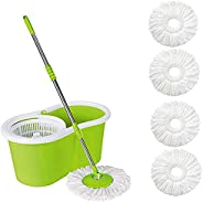 ABI CLEANING SOLUTIONS 360° Spin Floor Cleaning Bucket PVC Mop with Free 4 Microfiber Refill (Green)