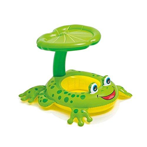 DZW Baby-Schwimmen-Floss mit Aufblasbarer Sonnenschutz-Überdachung, Swimmingpool-Floss-Spielzeug