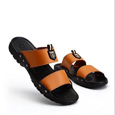 Slippers & amp da uomo;Estate Autunno Comfort microfibra casuale Heel Flat Black Giallo Marrone Sanda sandali US9.5 / EU42 / UK8.5 / CN43