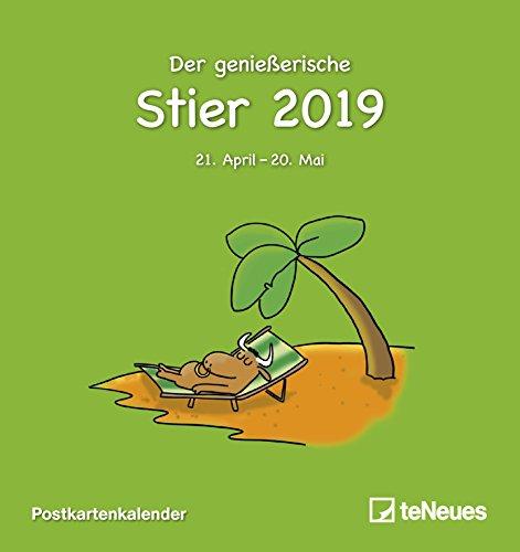Sternzeichen Stier 2019 - Postkartenkalender, Sternzeichenkalender, Horoskop 2019  -  16 x 17 cm