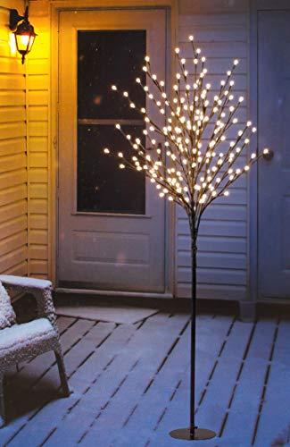 LED Lichterbaum mit 200 warm-weißen Lichtern beleuchtet, 150 cm hoch, die Lichterzweige sind flexibel, Weihnachtsbaum mit Lichterkette