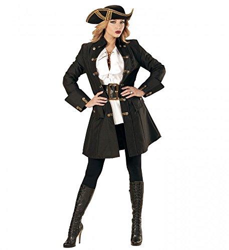 Schwarzer DAMEN-Mantel mit goldenen Knöpfen für Piratin Fluch der Karibik Kostüm Seeräuber Jacke, (Film Kostüme Karibik Fluch Der)