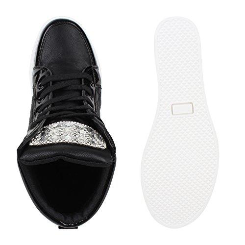 Bequeme Damen Sneaker-Wedges Strass Keilabsatz Lack Sneakers Schwarz