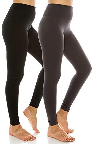 Hohe Taille mit Fleece-Futter Leggings plus Größen für Frauen und Junioren Schwarz Charcoal PS (Auge Junioren)