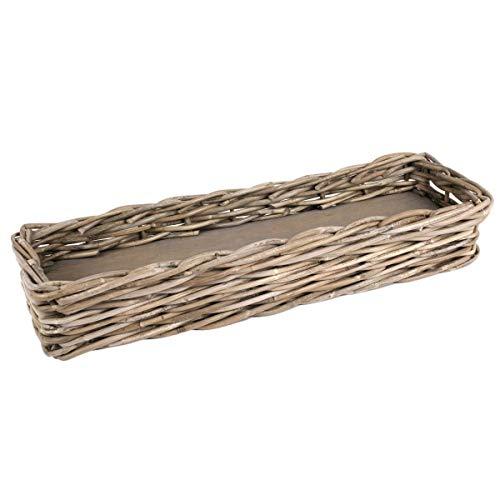 Untersetzer/Übertopf für Blumenkasten aus Rattan, auch für mehrere Kleine Blumenttöpfe oder Kräutertöpfe, Maße 54 x 18 cm Perfekt auch als Dekoschale. Für Balkon und Terrasse