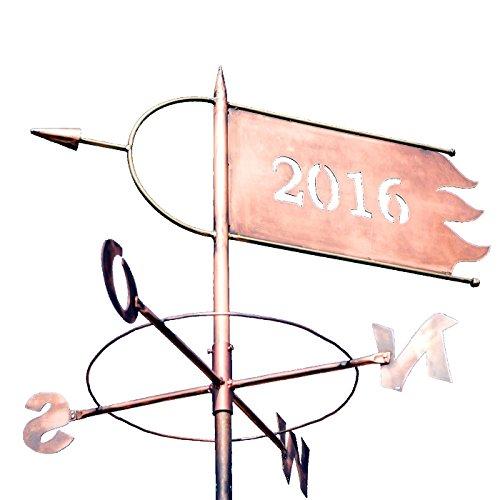 avec vent jahreszahl en cuivre – Rose Type A – de haute qualité, laquée Grande Grove Girouette pour toit/maison – des produits de LINNE Born Métal GmbH