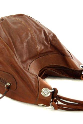 modamoda de - ital. Handtasche Damentasche Schultertasche Ledertasche Tasche Nappaleder Z18 Mittelbraun