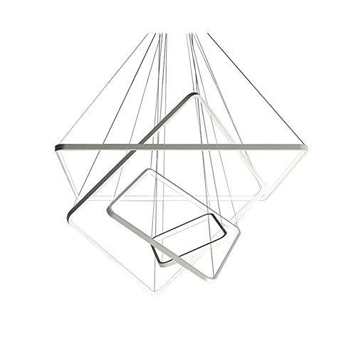 Dimmbar mit fernbedienung Kronleuchter 86W LED Rechteckige pendelleuchte Einfache Weiß Hängeleuchte Modern Hause Stil Wohnzimmer Esszimmer Pendellampe Büro Studio Pendel beleuchtung 30+50+70+90cm - Moderne Rechteckige Kronleuchter