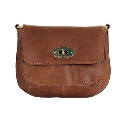 Shalimar Edle kleine Damen Handtasche aus gewachstem Leder, Farbe:Brandy - Brandy Handtaschen Aus Leder