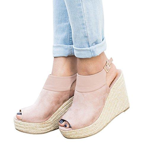 Pxmoda Damen Sommer Espadrille Wedge Sandalen Mode Schnalle Wildleder Plateau Schuhe (39, Rosa)