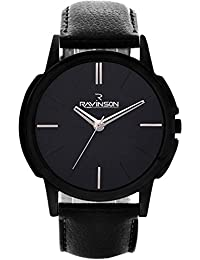 Ravinson 3503NL01 New Black Dial Black Leather Strap Casual Analog Wrist Watch For Men