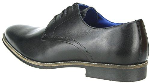 Ruban Rouge Shannon jusqu'en dentelle Chaussures Homme en cuir bout arrondi 7891011 Noir