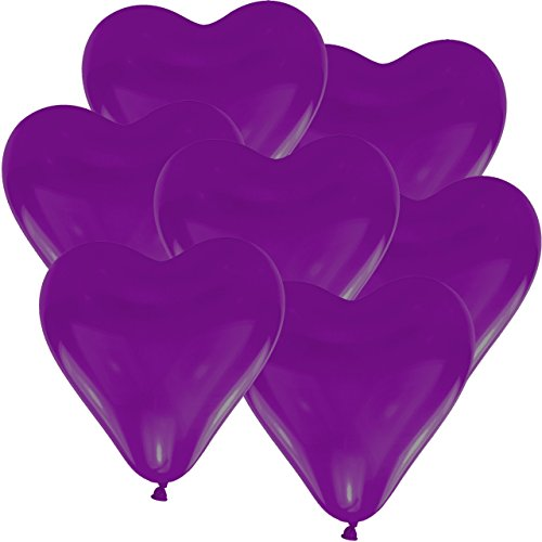 50 Lila Heliumballons - Herzballons Ø 30cm + PORTOFREI mgl + Geschenkkarte + Helium & Ballongas geeignet. High Quality Premium Ballons vom Luftballonprofi & deutschen Heliumballon Experten. Ideales Geschenk zur Hochzeitsfeier und Ballon Deko zur Hochzeit.