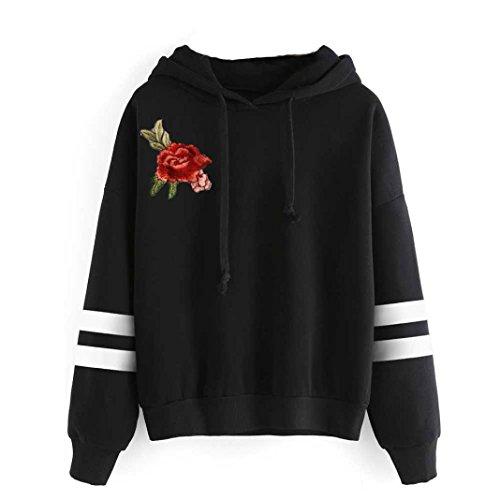 Kanpola Damen Sweatshirt Langarm Rose mit Stickerei mit Blumen Große Größen In übergröße Hoodie Kapuzenpullover Tops (M, Schwarz)