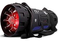 XX.Y P-127J tragbarer Bluetooth Lautsprecher Boom Box (NFC) mit eingebautem Akku/Audio-Eingang für Mikrofon/Musikinstrument/MP3 Player schwarz