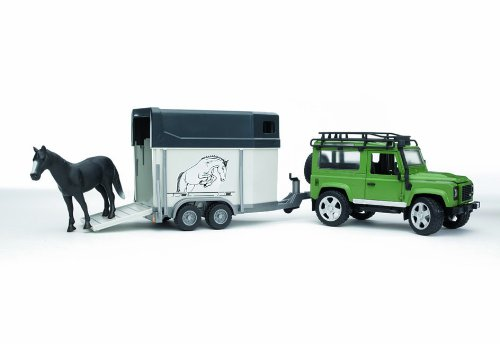 Image of Bruder Land Rover Defender Station Wagon with Horse Trailer and Horse