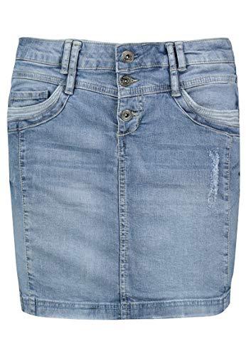 Sublevel Damen Jeans Mini-Rock mit Knöpfen im Used Look Light-Blue S